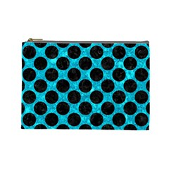 Circles2 Black Marble & Turquoise Marble (r) Cosmetic Bag (large)