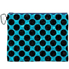 Circles2 Black Marble & Turquoise Marble (r) Canvas Cosmetic Bag (xxxl)
