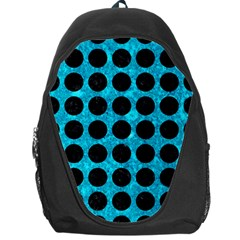 Circles1 Black Marble & Turquoise Marble (r) Backpack Bag