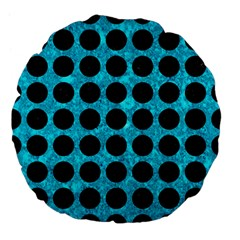 Circles1 Black Marble & Turquoise Marble (r) Large 18  Premium Flano Round Cushion