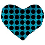 CIRCLES1 BLACK MARBLE & TURQUOISE MARBLE (R) Large 19  Premium Flano Heart Shape Cushion Front