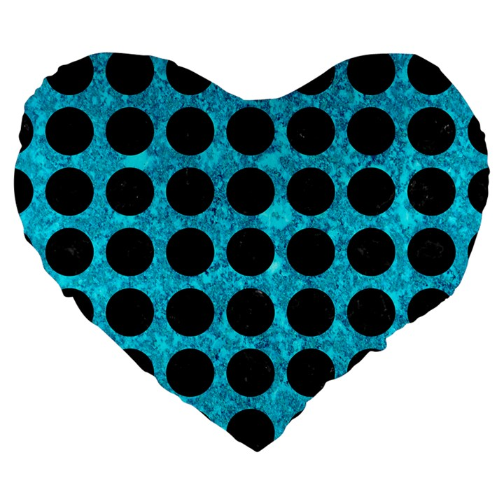 CIRCLES1 BLACK MARBLE & TURQUOISE MARBLE (R) Large 19  Premium Flano Heart Shape Cushion