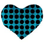 CIRCLES1 BLACK MARBLE & TURQUOISE MARBLE (R) Large 19  Premium Flano Heart Shape Cushion Back