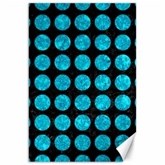 Circles1 Black Marble & Turquoise Marble Canvas 20  X 30