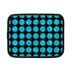 Circles1 Black Marble & Turquoise Marble Netbook Case (small)