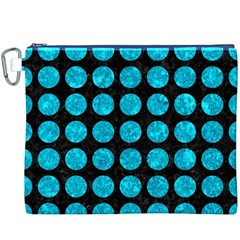 Circles1 Black Marble & Turquoise Marble Canvas Cosmetic Bag (xxxl)