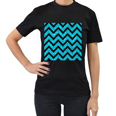 Chevron9 Black Marble & Turquoise Marble (r) Women s T Shirt (black) (two Sided)
