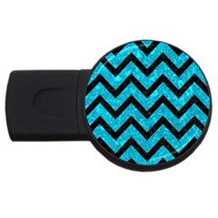 Chevron9 Black Marble & Turquoise Marble (r) Usb Flash Drive Round (4 Gb)
