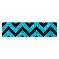 Chevron9 Black Marble & Turquoise Marble (r) Satin Scarf (oblong)