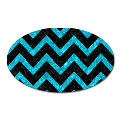 Chevron9 Black Marble & Turquoise Marble Magnet (oval)