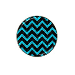 Chevron9 Black Marble & Turquoise Marble Hat Clip Ball Marker