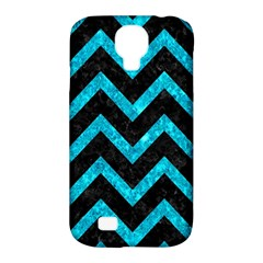 Chevron9 Black Marble & Turquoise Marble Samsung Galaxy S4 Classic Hardshell Case (pc+silicone)