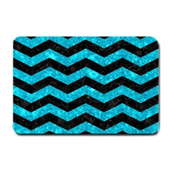 Chevron3 Black Marble & Turquoise Marble Small Doormat