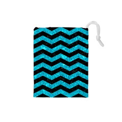 Chevron3 Black Marble & Turquoise Marble Drawstring Pouch (small)