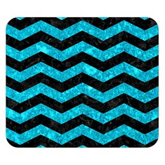Chevron3 Black Marble & Turquoise Marble Double Sided Flano Blanket (small)