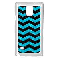 Chevron3 Black Marble & Turquoise Marble Samsung Galaxy Note 4 Case (white)
