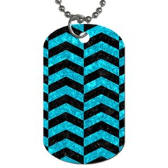 Chevron2 Black Marble & Turquoise Marble Dog Tag (two Sides)