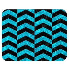 Chevron2 Black Marble & Turquoise Marble Double Sided Flano Blanket (medium)