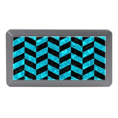 Chevron1 Black Marble & Turquoise Marble Memory Card Reader (mini)