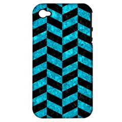 Chevron1 Black Marble & Turquoise Marble Apple Iphone 4/4s Hardshell Case (pc+silicone)