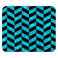 Chevron1 Black Marble & Turquoise Marble Double Sided Flano Blanket (small)