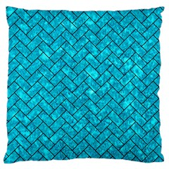 Brick2 Black Marble & Turquoise Marble (r) Standard Flano Cushion Case (two Sides)