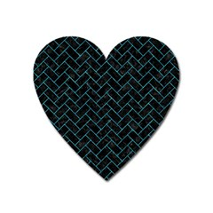 Brick2 Black Marble & Turquoise Marble Magnet (heart)