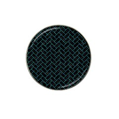 Brick2 Black Marble & Turquoise Marble Hat Clip Ball Marker (10 Pack)