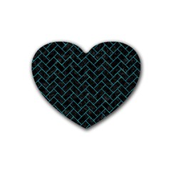 Brick2 Black Marble & Turquoise Marble Rubber Heart Coaster (4 Pack)