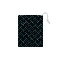 Brick2 Black Marble & Turquoise Marble Drawstring Pouch (xs)