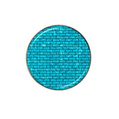 Brick1 Black Marble & Turquoise Marble (r) Hat Clip Ball Marker