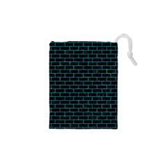 Brick1 Black Marble & Turquoise Marble Drawstring Pouch (xs)