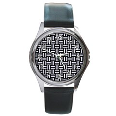 Woven1 Black Marble & White Marble Round Metal Watch