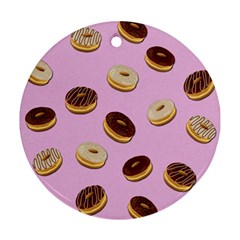 Donuts pattern - pink Round Ornament (Two Sides)