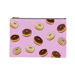Donuts Pattern   Pink Cosmetic Bag (large)