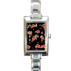 Pizza slice patter Rectangle Italian Charm Watch