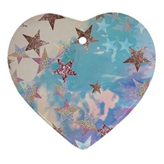 Pastel Stars Heart Ornament (two Sides)