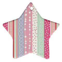 Pink Wood Star Ornament (two Sides)
