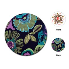 Dark Lila Flower Playing Cards (round)