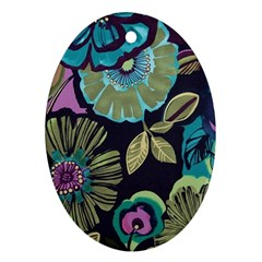 Dark Lila Flower Oval Ornament (two Sides)
