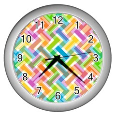 Abstract Pattern Colorful Wallpaper Wall Clocks (silver)