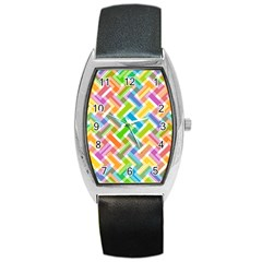 Abstract Pattern Colorful Wallpaper Barrel Style Metal Watch