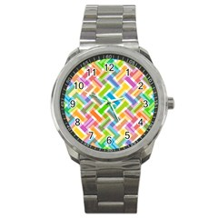Abstract Pattern Colorful Wallpaper Sport Metal Watch