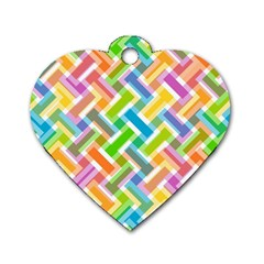 Abstract Pattern Colorful Wallpaper Dog Tag Heart (two Sides)