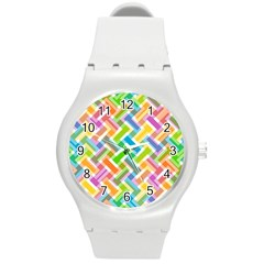 Abstract Pattern Colorful Wallpaper Round Plastic Sport Watch (m)
