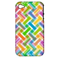 Abstract Pattern Colorful Wallpaper Apple Iphone 4/4s Hardshell Case (pc+silicone)