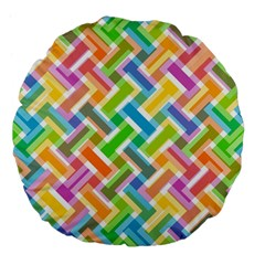 Abstract Pattern Colorful Wallpaper Large 18  Premium Flano Round Cushions