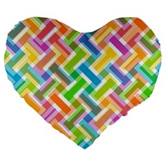 Abstract Pattern Colorful Wallpaper Large 19  Premium Flano Heart Shape Cushions