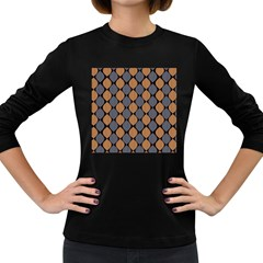 Abstract Seamless Pattern Women s Long Sleeve Dark T Shirts