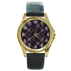 Abstract Seamless Pattern Round Gold Metal Watch